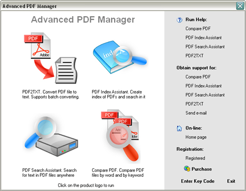 PDF Manager. Main screen window.